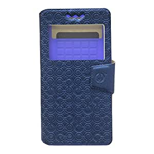 Jo Jo Cover Astro Series Leather Pouch Flip Case With Silicon Holder For Intex Cloud Pace Dark Blue