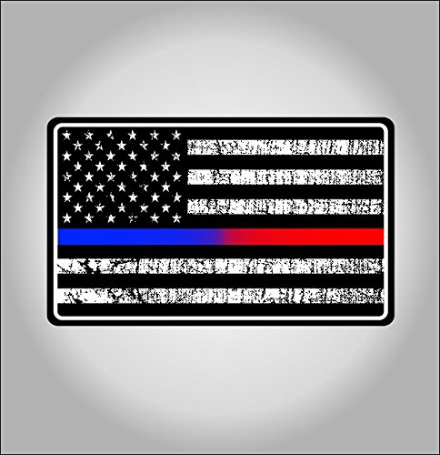 Police and Fire Dept. blue/red line american flag sticker / decal (Fire Dept Window Decal compare prices)