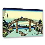 ArtWall Katsushika Hokusai's Fuji See Through The Mannen Bridge at Fukagawa Gallery Wrapped Canvas Artwork, 24 x 36