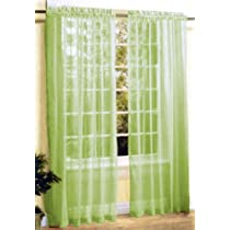 New 2 Pc Sexy Sheer Voile Window Curtain Panel Set Lime Green