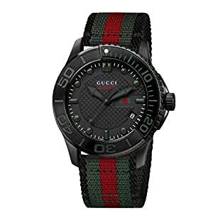 Gucci G-Timeless Collection Men's Quartz Watch with Black Dial Analogue Display and Multicolour Nylon Strap YA126229