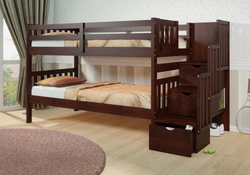 Beautiful Mission Storage Stair Step Bunk Bed