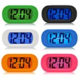 Simple Silent LCD Digital Large Screen Alarm Clock Snooze/light function Batteries Powered with Silicone Protective Cover (Blue)