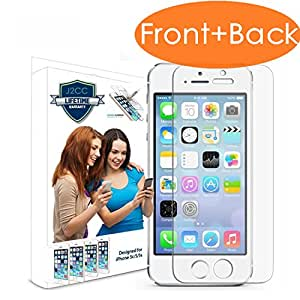 Iphone 5 Screen Protector, [Front + Back] J2cc [Retina Sense] Premium High Definition Shockproof Clear Tempered Glass Screen Protector 0.26mm 2.5d Curved Edge - Retail Packaging ¡ 