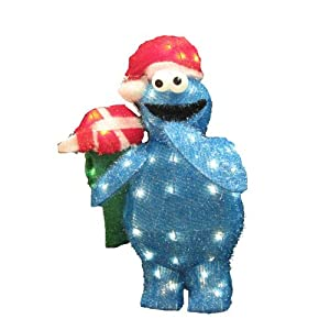 Kurt Adler 28-Inch Pre-Lit 50-Light 3D Cookie Monster Lawn Decor