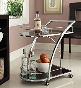 Chrome Metal Bar Tea Serving Cart With Tempered Glass by eHomeProducts