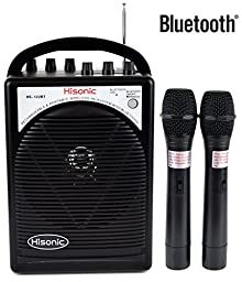 HISONIC HS122BT-HH Portable PA System with Dual Channel Wireless Microphones (Two handheland), Lithium Rechargeable Battery, Bluetooth Streaming Music From your Cell Phones,iPads, Android Pads and Computer, with Car Cable and Carry Bag, Black