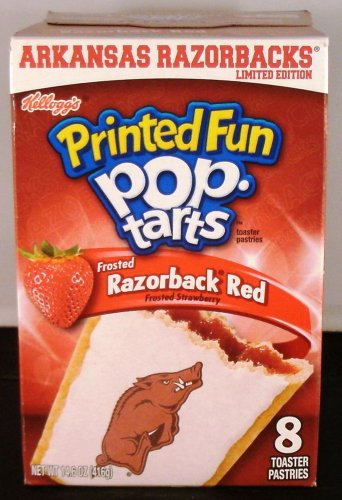 University of Arkansas Printed Fun Pop Tarts Frosted Razorback Red, Limited Edition, 1 Box of 8 Pastries