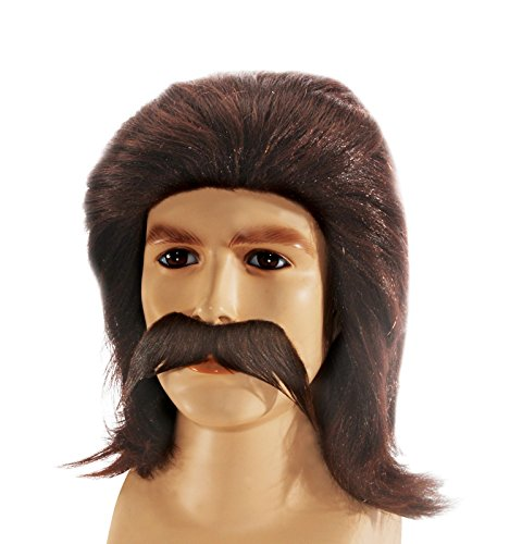 Feather Style Redneck Mullet with Moustache Wig Brown One Size (Adult)