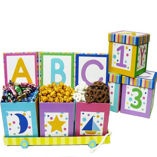 A B C's and 1 2 3's Baby Gift Basket for Boys or Girls