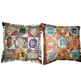 2 Steel Impression Vintage Silk Sari Toss Pillow Cushion Coversby Mogulinterior