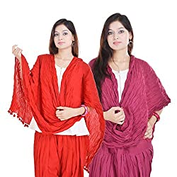 Kalrav Solid Red and Purple Cotton Dupatta Combo