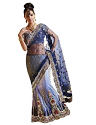 Anvi Creations Net Brocade Blue Embroidered Lehenga Saree (Blue_Free Size) - B00TO7O4KM