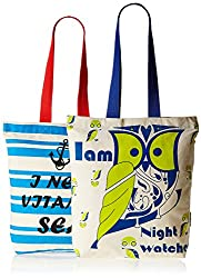 Kanvas Katha Women's Combo Tote Bag (Off-White) (KKCAMZAUG009-KKCAMZAUG010)