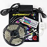 SUPERNIGHT 16.4ft 5M Waterproof Flexible Strip 300leds Color Changing RGB SMD3528 LED Light Strip Kit RGB 5M +44Key Remote+12V 3A Power Supply