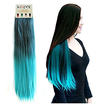 "KISSPAT®Turquoise Fashion Ombre Dip Dyed Straight Hair Extension, Synthetic Clip In Hair Extensions, 5 Clips , 23-24"" Long Fabulous Colors"