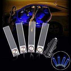 See BestAuto® Pack of 4Pcs Decorative Atmosphere Neon Lamp Kit LED Blue Light Car Cigarette Powered Light Transparent(DC 12V/240CM) Details