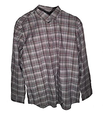 Calvin Klein Men's Long Sleeve Dark Primula Plaid Shirt