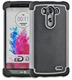 myLife Slate Gray {Textured Design} 2 Piece Hybrid Reflex Case for the LG G3 Smartphone (Outer Rubberized Fit On Protector Shell + Internal Silicone SECURE-Grip Bumper Gel)