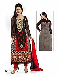 Look N Buy Women's grey Georgette un- sitiched dress mterial (H199_grey_free size)