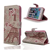 TRURENDI Vintage Retro Paris Eiffel Tower Girls Cute Animal Painted Art Series PU Leather Wallet Flip Case Cover with Card Slot and Magnetic Snap for iPhone 4/4S (Eiffel Tower & Flowers)