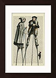 Dutch Stilt Couple with Woodpecker Ready To Frame Mounted /Matted Dictionary Art Print