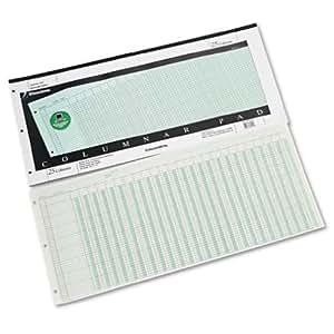 Wilson Jones Green Columnar Pad, 25 Columns, 41 Lines, 11 x 24.25 Inches, 50 Sheets per Pad (WG7225A)