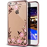 iPhone 7 Plus Case,Inspirationc [Secret Garden] Rose Gold and Pink PC Plating Clear Shiny Cover Series for Apple iPhone 7 Plus 5.5 Inch--Swarovski