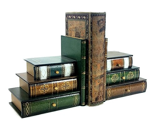 New Style Classic Wooden Book Bookends Library w/ Hidden Drawers (Classic Bookends compare prices)