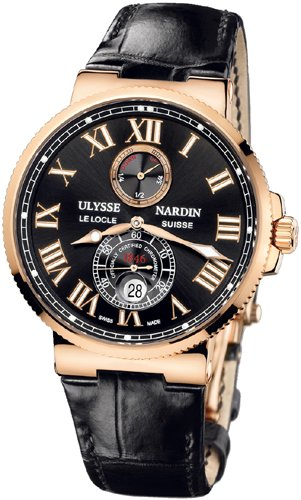 Ulysse Nardin Maxi Marine Chronometer Black Dial 18kt Rose Gold Leather Mens Watch 266-67-42