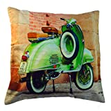 MJR The Old Green Scooter Digital Print 100% Cotton Cushion Cover 16