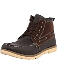 Kraasa Men's Black Faux Leather Boots- 6