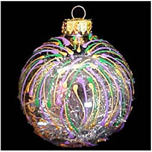 Mardi Gras Fireworks Design Hand Painted Heavy Glass Ornament