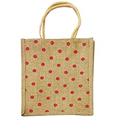 Party Propz Polka Dot Jute lunch bag/ Carry Bag/ Hand Bag, Medium Size (Height:12in, Lenght: 10in, Width: 4in)/ Jute Bag for Lunch 1pcs
