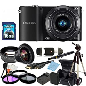 Samsung NX1000 Mirrorless Wi-Fi Digital Camera with 20-50mm Lens (Black) Kit. Includes 0.45X Wide Angle Lens, 2X Telephoto Lens, 3 Piece Filter Kit (UV-CPL-FLD), 16GB Memory Card, Card Reader, Extedned Life Replacement Battery + Charger, Tripod, Case & More