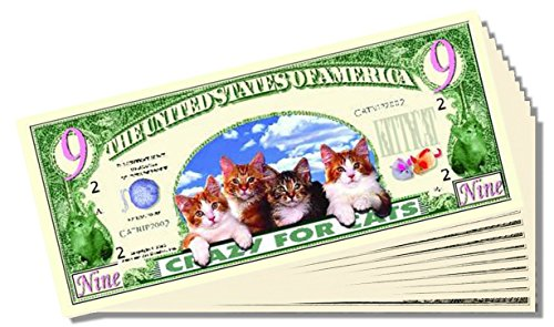 Crazy for Cats Novelty 9(Lives) Dollar Bill - 10 Count with Bonus Clear Protector & Christopher Columbus Bill