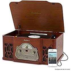 Electrohome Winston 3-in-1 Vintage Classic Turntable Real Wood Stereo System with AM/FM Radio CD & Full Size Record Player - EANOS501