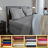Clara Clark 1800 series Silky Soft 4 piece Bed Sheet Set King Size, Gray