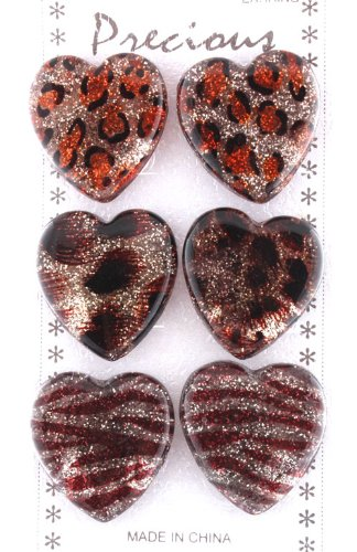 Ladies Unique Multicolored Light Sparkle Heart Shape Animal Print Style Clip On Earrings