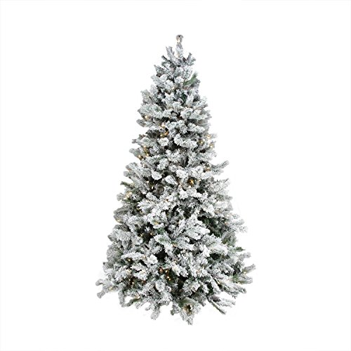 7.5' Pre-Lit Single Plug Flocked Victoria Pine Artificial Christmas Tree - Multi-Function LED Lights (Pine Tree Plug compare prices)