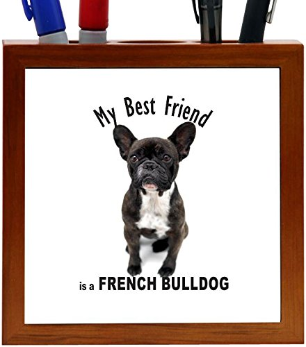 Rikki Knight My Best Friend is a French Bulldog - Black and White French Bulldog Design 5-Inch Tile Wooden Tile Pen Holder (RK-PH45045) (French Bulldog Pen compare prices)