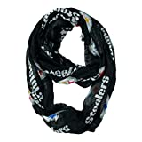 NFL Pittsburgh Steelers Sheer Infinity Scarf, One Size, Black