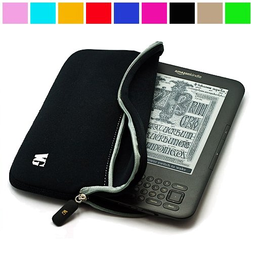 Durable Protective Neoprene Glove Sleeve Cover Carrying Case For Amazon Kindle 3 Wifi 3G 6 Inch Lcd Display Screen, Black