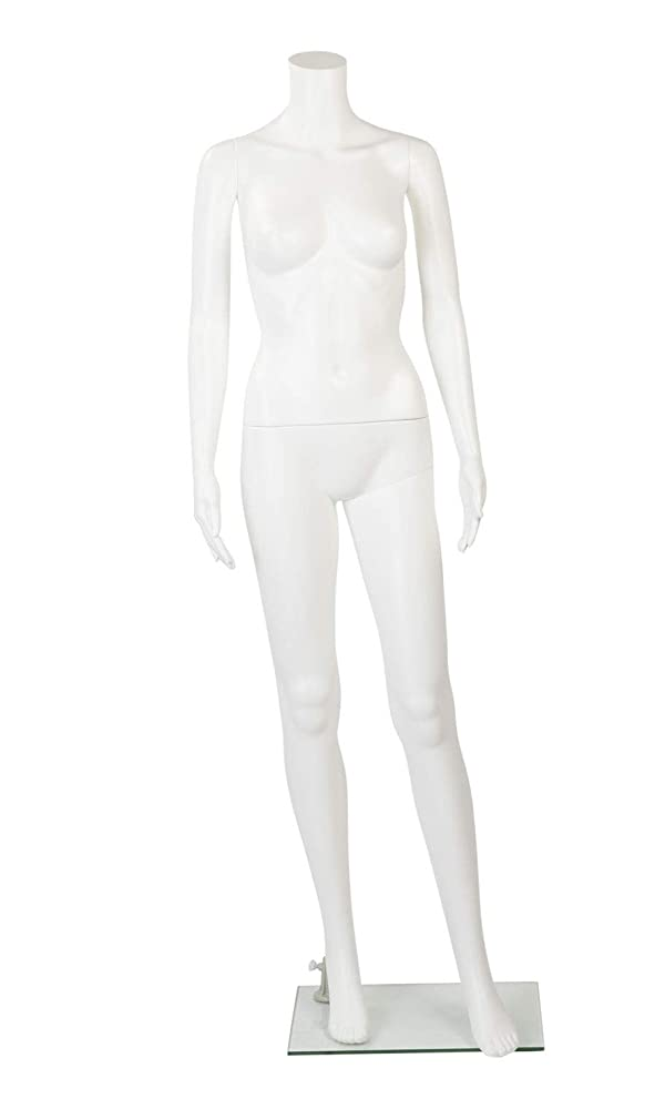 Female Headless White Plastic Mannequin with Straight Arms - with Base - 5'4H (Color: White)