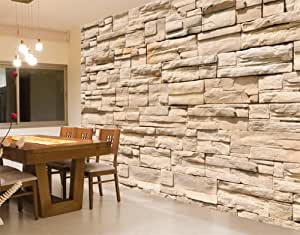 Giant wall mural photo wallpaper stone wall 400 x 280 cm for Amazon mural wallpaper