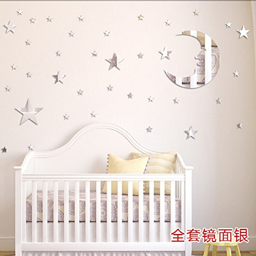 Amaonm® Removable 3D Acrylic Mirror Surface Crystal Moon + 37 PCS Stars Wall Decal DIY Home Art Decor Wall Sticker Murals for Kids Boys and Girls Bedroom Roof Ceiling Bathroom TV Background