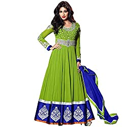 Resham Fabrics Light Green Indo Western style Anarkali Semi Stitched Salwar Suit Duppata Material