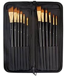 PIGLOO Artist Quality Long Handled Paint Brushes with Zippered Carry Case/Pop-Up Stand, 12 Piece Set