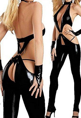 Fashion Queen Sexy Black Low Cut Women's Catsuit Crotchless Bodysuit Fetish Lingerie (Small, Black) (Pvc Wet Look Lingerie compare prices)