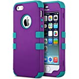 iPhone 5S Case, ULAK 3 in 1 Shield Case for iPhone 5s 5 Heavy Duty Hybrid 3 Layer Rugged Hard Cover Silicone Shell Inside Case (3 in 1 Shield-Purple+Blue)